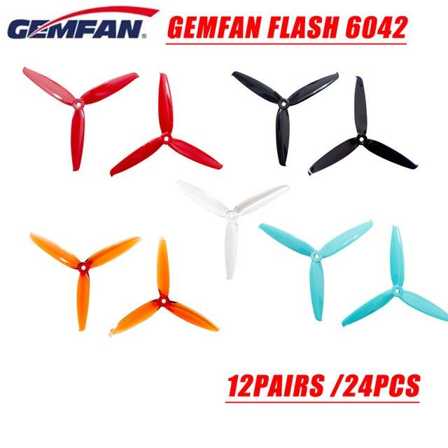 24 pcs/12 pairs gemfan flash 6042 6x4.2x3 rc 모델 용 6 인치 3 블레이드 pc cw ccw 프로펠러 multicopter frame esc 예비 부품 accs