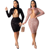 Elegant Hollow Out Sequin Dress Women Turtleneck Long Sleeve Bandage Dress Sexy Evening Party Night Bodycon Black Dresses