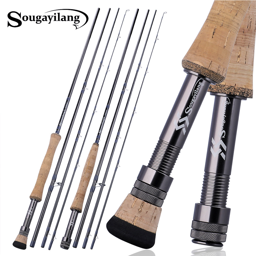 Sougayilang 4 Section 2.7M Fly Fishing Rod  Portable EVA / Metal Handle Carbon Fiber Body Fly Rod Outdoor Bass Fishing Pole