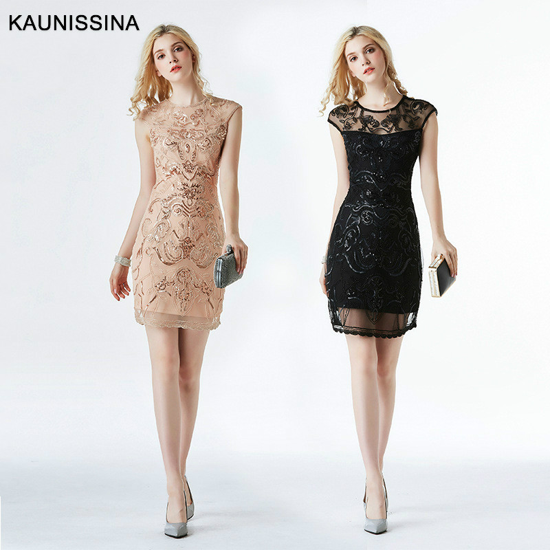 KAUNISSINA Sexy Dress Cocktail Dresses Sequined Above Knee Length Short Sleeve Clube Wear Cocktail Party Gown Vestidos