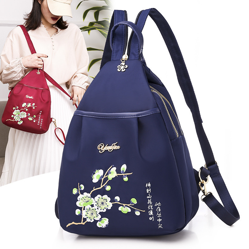 National Women Backpack Embroidery Flowers Female Chest Bag Back Pack Chinese Style Oxford Lady Travel Bagpack Sac A Dos Bags