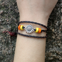 50pcs Vintage Sunflower Strands Wrap Bracelets Handmade Boho Bracelet Women Leather Bracelet Beach Jewelry