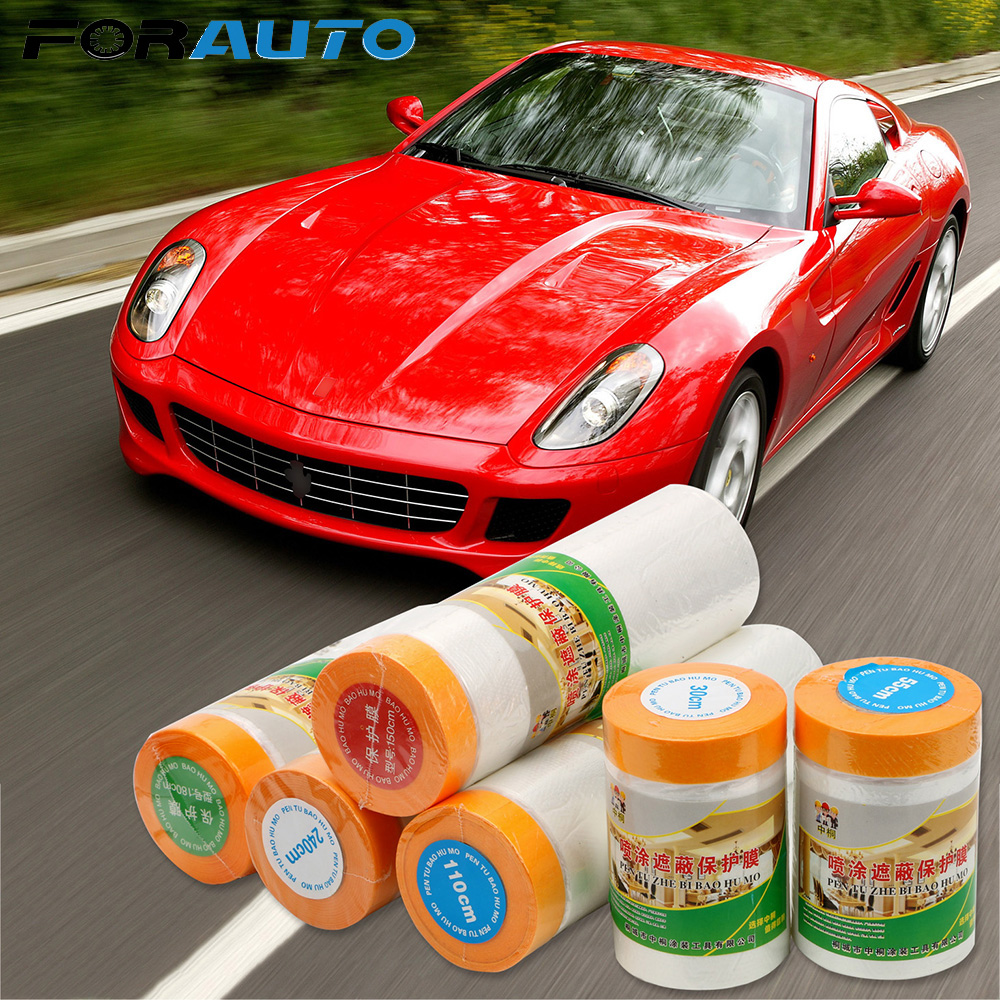 FORAUTO Pre-Taped Plastic Drop Cloth Dust Protection Masking Film Cover For Car Paint Plastic Dip Spray Paint Protection Film