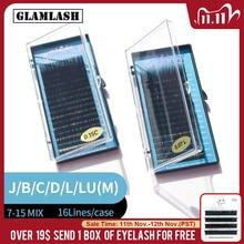 GLAMLASH Mix 7~15/15 20/20 25mm handmade korean pbt eyelash extension natural soft faux mink eyelashes 25mm lashes for extension