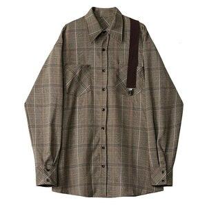 Image 3 - [Eam] feminino xadrez plissado dividir duas peças camisa vestido nova lapela manga longa solto ajuste moda maré primavera outono 2020 1d7110
