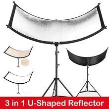 U בצורת 160*55cm 3 ב 1 צילום רפלקטור Collapsibe אור רעיוני בד רך מפזר עבור מצלמה וידאו סטודיו תמונה