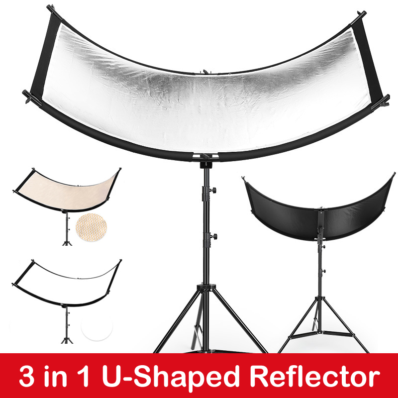 U-Shaped 160 55cm 3 in 1 Photography Reflector Collapsibe Light Reflective Cloth Soft Diffuser for Camera Video Studio Photo