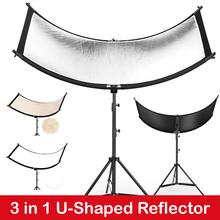 W kształcie litery U 160*55cm 3 w 1 reflektor do zdjęć składany lekki odblaskowy materiał miękki dyfuzor do kamera wideo Studio Photo tanie tanio ightpro U-Shaped Reflector Rectangle 3 5KG Golden White Silver Portable Bag