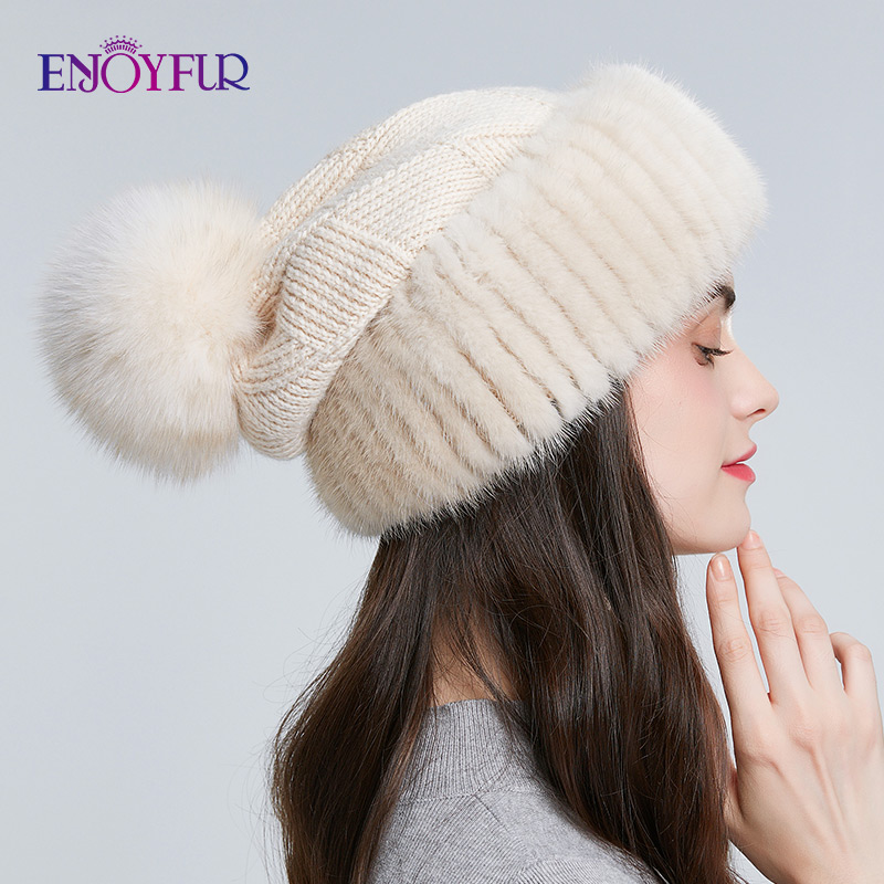 ENJOYFUR Winter Mink Fur Knitted Wool Hats For Women Fox Fur Pompom Slouchy Beanies Fashion Warm Style Caps For Youth