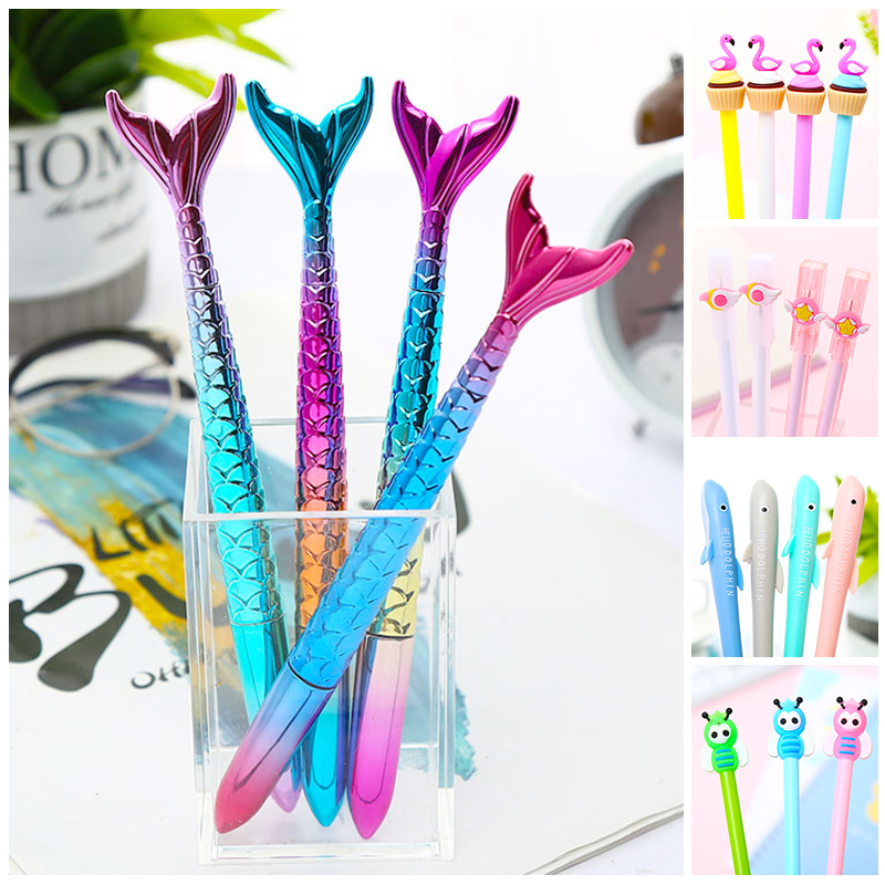 Novelty Kawaii Flamingo Scepter Whale Black Cat Gel Pens Bee Mermaid Animal Cute Stationery School Office Supply Material Items