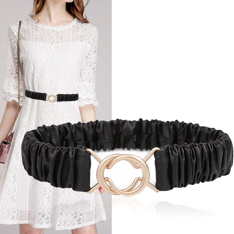 New Women Belts HOT Corset Pu Leather Stretch Waistbands Matte Gold Buckle High Quality Elastic Black Cummerbunds Dress Decorate