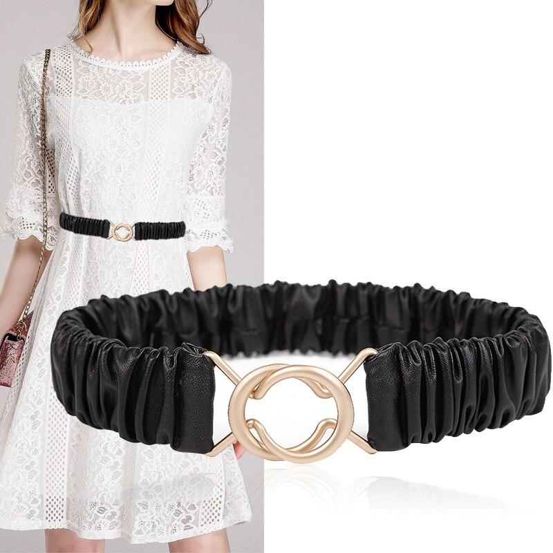 New Women Belts HOT Corset Pu Leather Stretch Waistbands Matte Gold Buckle High Quality Elastic Black Cummerbunds Dress Decorate