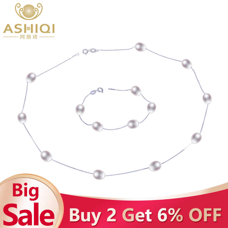 ASHIQI Natural pearl  925 Sterling Silver Jewelry Sets Real Freshwater pearl Necklace Bracelet for women New