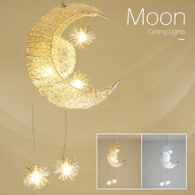 Modern Chandelier Moon Creative Personality Ceiling Lamp Gift Childrens Chandeliers Bedroom Living Room Decorative Lighting
