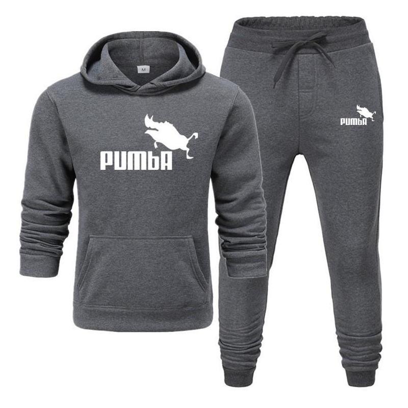 New Pumba Two Pieces Hoodie Batman Hooded Men Casual Cotton Fall / Winter Warm Sweatshirts Men's Casual Tracksuit Costume S-XXXL
