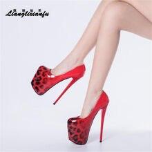 LLXF – chaussures à talons ultra hauts et fins pour femme, escarpins à bout rond, fétichiste Stiletto SM 20cm, Cosplay, imprimé léopard, Plus:34-48 49 50