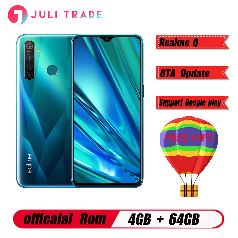 "Original Oppo Realme Q Mobile Phone Snapdragon 712 AIE 4305mah Android 9.0 6.3"" Full Screen 4GB RAM 64B ROM 48.0MP Fingerprint"