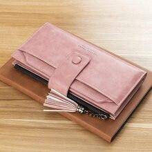 Carteira feminina de couro com zíper, bolsa longa de telefone com tassel, moedas femininas, fivela da moda, dinheiro bolsa carteiras