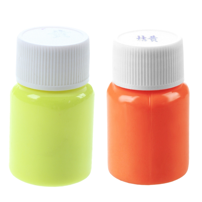2Pcs 20G Glow In The Dark Acrylic Luminous Paint Bright Pigment Party Decoration DIY Orange With Yellow & Golden Yellow