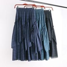 Fleabane falda de fleabane amarga estilo occidental restaurando maneras antiguas es la nueva de rejilla faldas puestas en la hembra 775