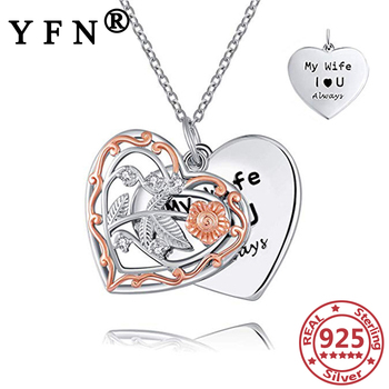 YFN 925 Sterling Silver Heart Pendant Necklaces Vintage Hollow Two Layers Woman's Jewelry Valentine's Day Gift Anniversary Gifts