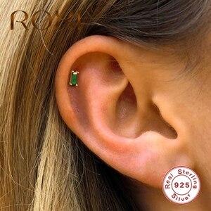 ROXI Luxury Square Emerald Green Stone Stud Earrings for Women Small Piercing Earings Kolczyki Cartilage 925 Sterling Silver