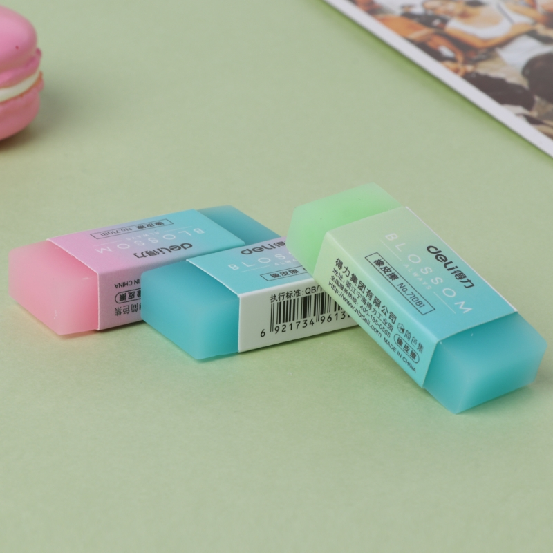 1pc Soft Rubber Pencil Eraser Durable Flexible Cube Cute Colored Pencil Rubber Erasers For School Kids