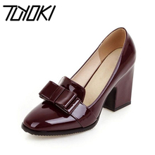 Tuyoki Size 33-43 Women High Heels Shoes Bowknot Square Toe Pumps Office Lady Thick Heel Party Shoe Women Mature Date Footwear