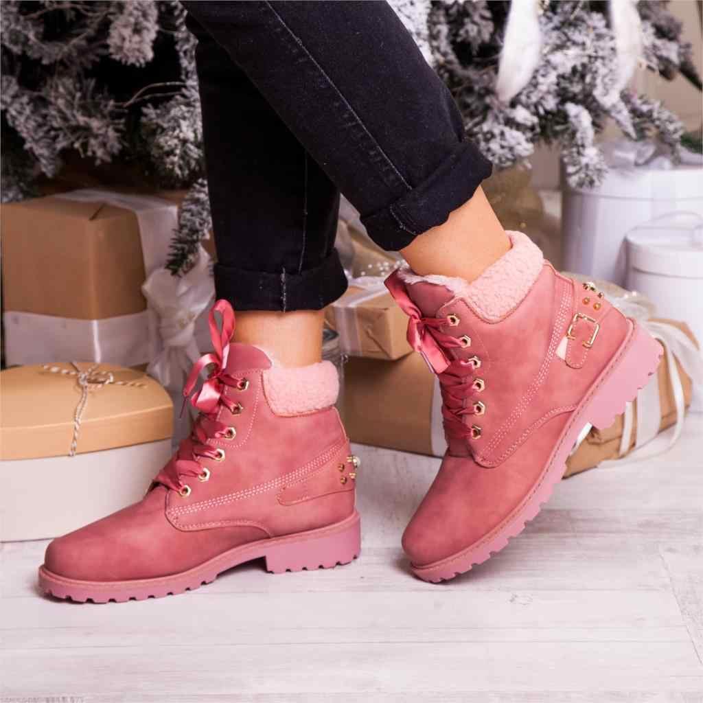 Fujin Nữ Mùa Đông Giày Nền Tảng Hồng Giày Bốt Nữ Phối Ren Mắt Cá Chân, Giày Boot Tròn Nữ Giày Nữ Mùa Đông Ủng mắt Cá Chân