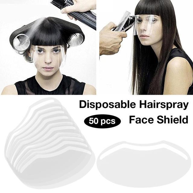 50Pcs/Set Disposable Transparent Plastic Face Shield Hair Salon Hairspray Masks Cutting Coloring Face Protecting Barber Supplies