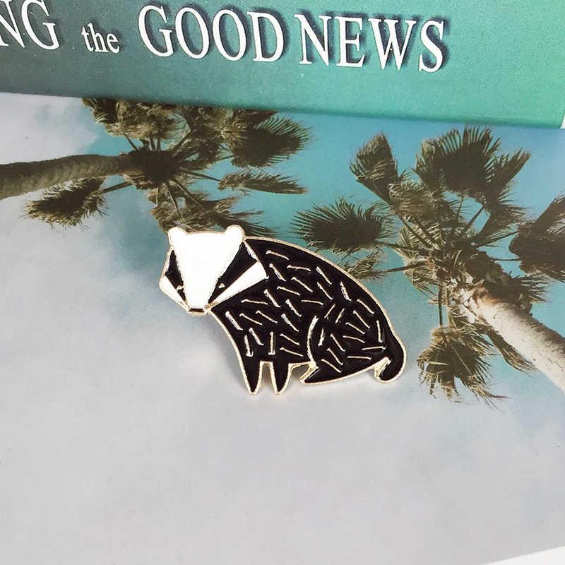 Xedz Hitam dan Putih Baru Fox Landak Bros Anak Hewan Badge Fashion Denim Pakaian Ransel Liontin Hadiah Perhiasan