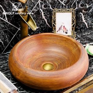 Image 5 - Arte fregadero de baño, cuenco para lavabo, 460x460x150mm, redondo, restauración de antiguas formas, recipiente de cerámica, lavabo antiguo AM863
