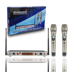 STARAUDIO 2CH Wireless Microphone System 2CH UHF Handheld Frequency Adjustable Microphone For Church Speech Stage Bar SMU-0215A