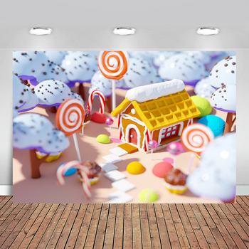 Ice Cream Tree Chocolate House Candyland Candy Sweets Bar Custom Photo Studio Backdrop Photography Background - discount item  30% OFF Camera & Photo