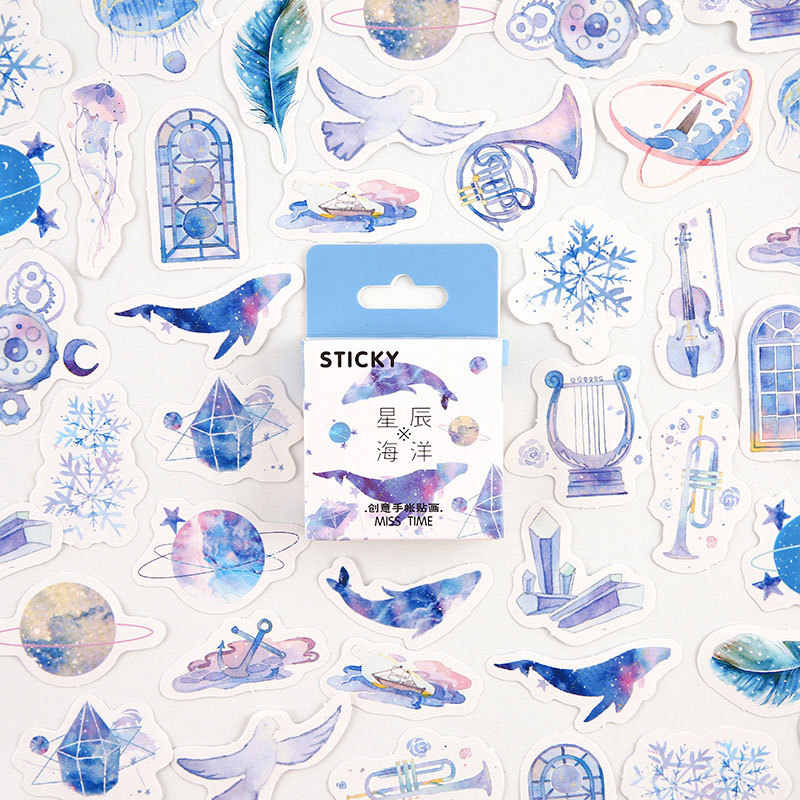 45Pcs Biru Star Ocean Washi Tape Warna Dasar Kertas Washi Tape Pita Perekat DIY Dekoratif Label Stationery Tape