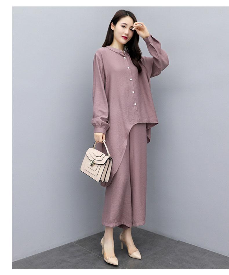 2019 Autumn Cotton Linen Casual Two Piece Sets Outfits Women Plus Size Long Sleeve Tops And Wide Leg Pants Suits Vintage Sets 54
