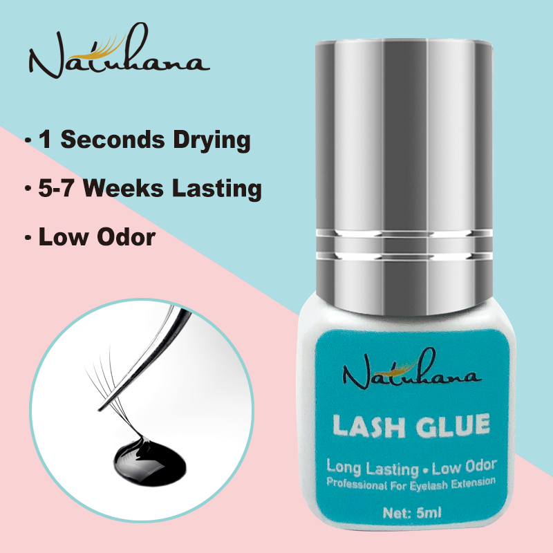 NATUHANA 5ml 1 Second Fast Drying Strong False Eye Lash Extension Glue Adhesive Retention 5-7 Weeks Low Smell Mink Eyelash Glue