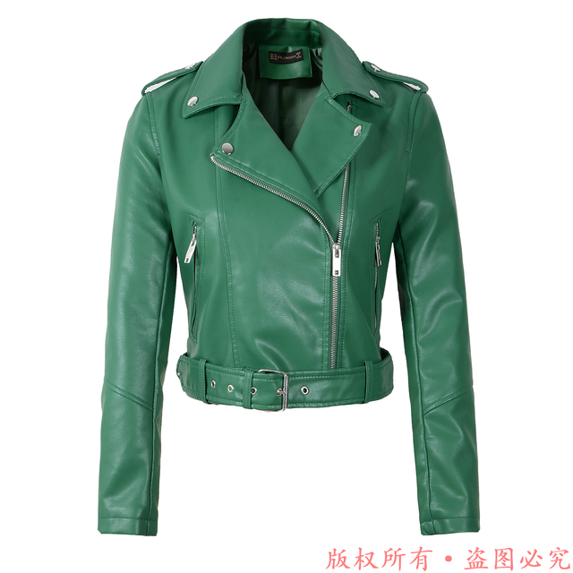 New Arrival brand Winter Autumn Green Motorcycle leather jackets yellow leather jacket women leather coat slim PU jacket Leather