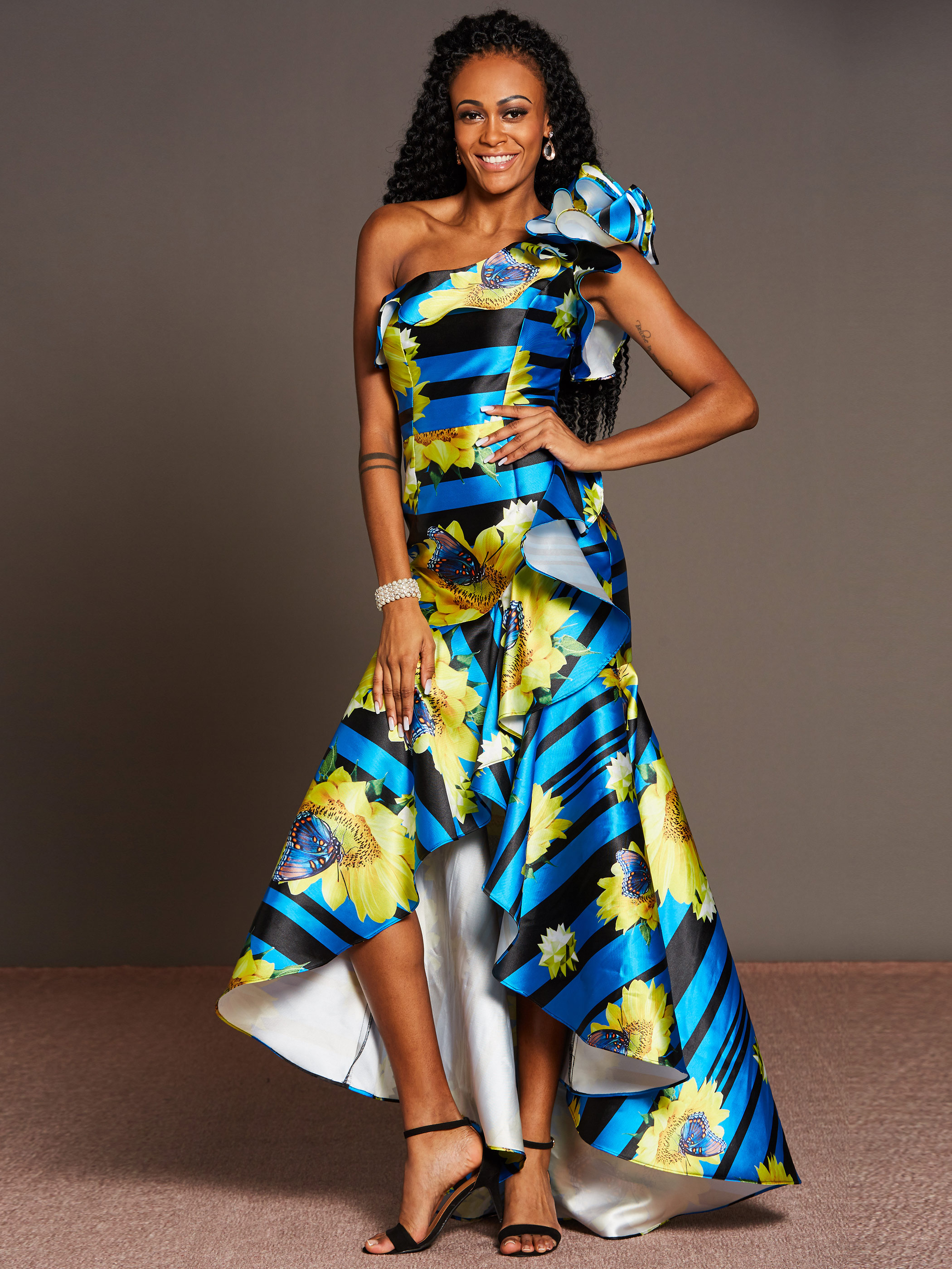 Sexy One Shoulder Party Dress Women African Floral Print Blue Long Ruffle Maxi Dresses Robe 2020 Summer Female Vestiods Elegant