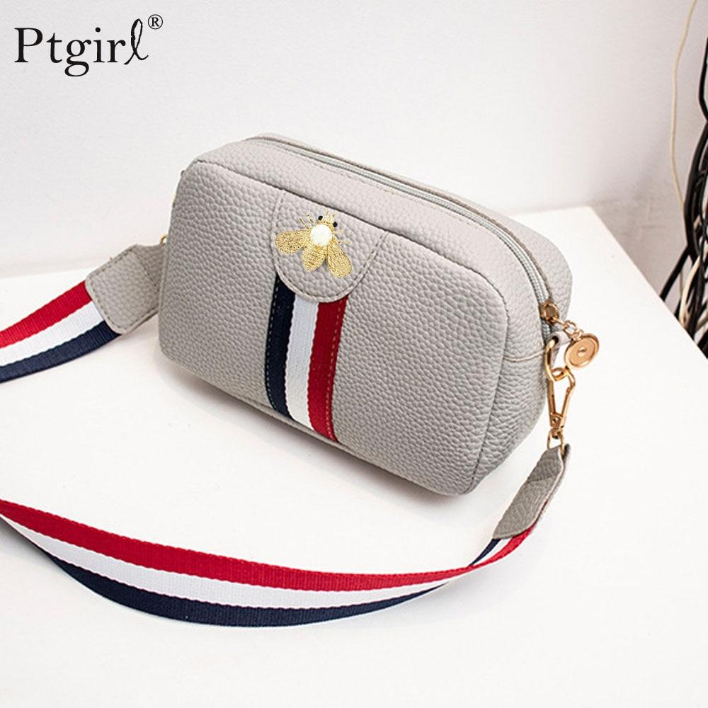 Female Casual Rectangle Shape Mini Portable Single-shoulder Bag Ptgirl PU Leather Phone Coin Bag New Trend Handbag Crossbody Bag