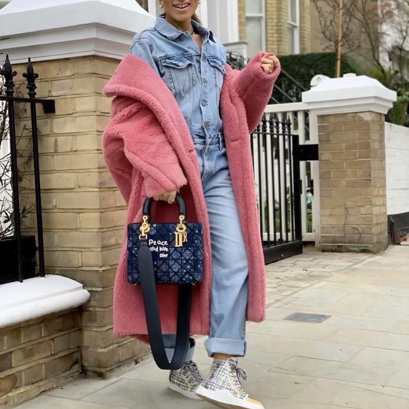 Image 5 - Teddy jacket faux fur coat long red white pink fur coat female  vintage fur collar winter coat women elegant shaggy fur coatsFaux Fur