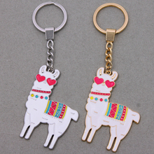 Classic Enamel Alloy South American Floral Alpaca Goat Key Chains For Women bag Charms Keyring keychains Fashion Jewelry