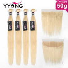 YYong 50g 613 Blonde Bundles With Frontal 5/6 Pcs Remy Brazilian Straight Honey Blond Human Hair Ear To Ear Frontal With Bundles