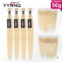YYong-mechones rubio con Frontal, cabello humano liso brasileño Remy, rubio miel, oreja a oreja, Frontal, con mechones, 50g, 613 Uds.