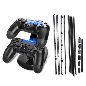 6 Lot PS4 Slim DIY Dust Proof Stopper Pack Dustproof Kit+LED Dual USB Charging Dock Station Stand Charger For Playstation 4 Slim