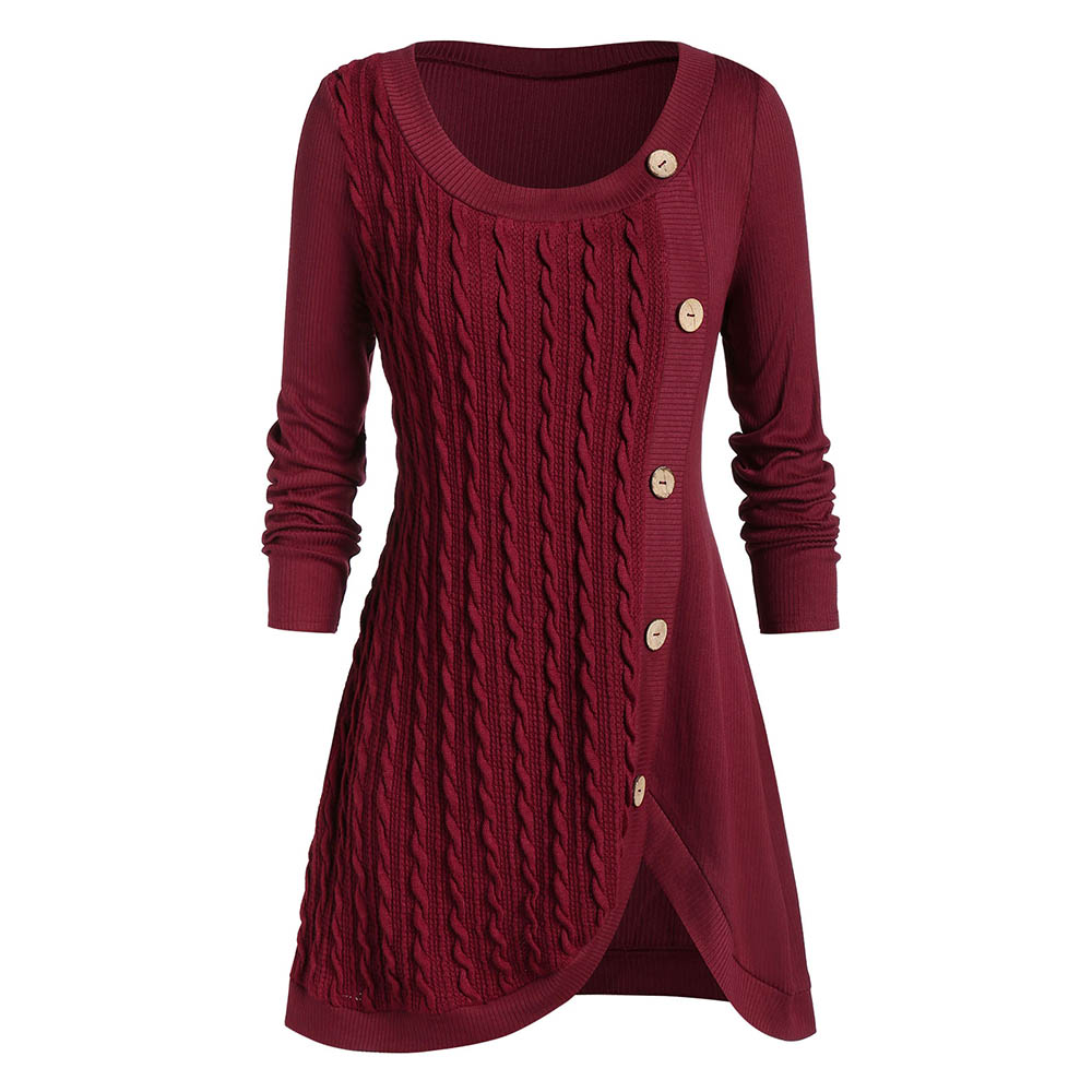 ROSEGAL Plus Size Split Buttoned Cable Knit Sweater Women Front Slit Scoop Neck Pullovers Long Sleeve O-neck Sweaters Tops 2019