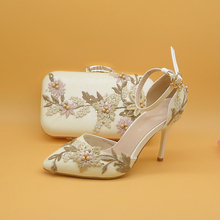 2020 New White Lace Flower wedding shoes with matching bags High heels Pointed Toe Ankle Strap Ladies Party shoe and bag set new gold office shoe and bag set women shoes and bag set in italy design italian shoes with matching bag set wedding dress shoes