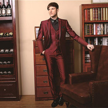 2020 One Button Groom suits for Wedding The Best Man Suits For mens Suits Business Party tuxedos (Pant+Jacket+Vest) Custom Made blue wedding groom tuxedos for man ceremony prom suit 3 piece smoking business party men suits custom made jacket vest pant
