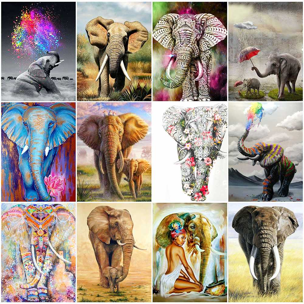 HUACAN 5d Diamond Painting Full Drill Animal New Arrival Diamond Embroidery Elephant Decorations For Home image