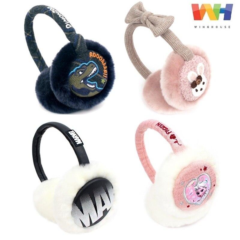 Winghouse Children Earmuffs Marvel/Frozen Rose Cartoon Rabbit Dinosaur Winter Headphones Girl Boy Warm Windproof Earplugs EarBag